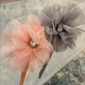 Girls J Crew Pink Mesh gemstone Flower headband